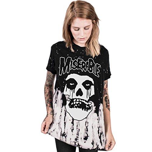 Halloween T-Shirt, iHee Herren Damen Drucken Nettes Festival Halloween Tank Top Bluse Punk Rock T-Shirt (S-M, (Halloween Ausschnitt)