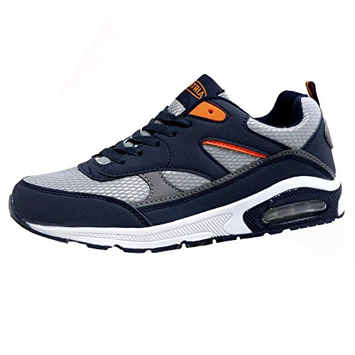 Mens Legacy Air Bubble Max 90 Running Trainers Airtech Fitness Shock Absorbing Sports Gym Shoes Size 7 8 9 10 11 12 (9 UK, Navy / Silver / Orange)