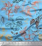 Soimoi Blau Viskose Chiffon Stoff Blätter, Birne und