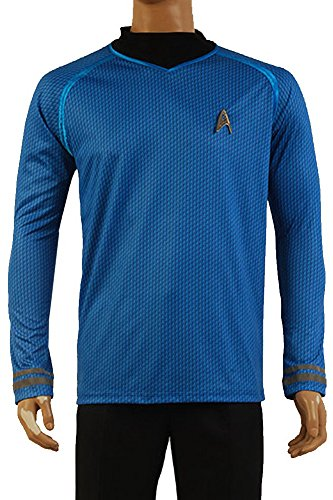 FUMAN Star Trek Uniform Spock Shirt Cosplay Kostüm Blau M