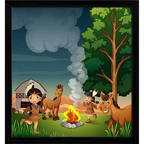 ArtzFolio Farm with Indian Girls Tabletop Painting Black Frame 10 X 10.7Inch Black Indian Girl