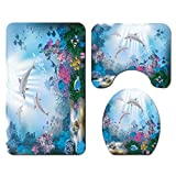 Qomomont Bathroom Shower Curtain Floor Mat Set of 4 - Shower Curtain & Pedestal Rug & Toilet Seat Cover & Bath Mat - Anti Slip Waterproof Home Bath Accessories Decoration - Under The Sea World