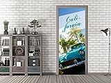 GRAZDesign 791503_67x213 Tür-Bild California mit Auto | Aufkleber fürs Wohnzimmer | Tür-Tapete selbstklebend (67x213cm//Cuttermesser)