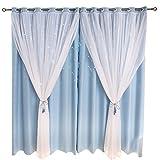 LDFN Vorhänge Voile Blackout Sterne Double Dream Princess Vorhänge Bodenhohe Fenster,Blue+Voile-2.5*2.7m
