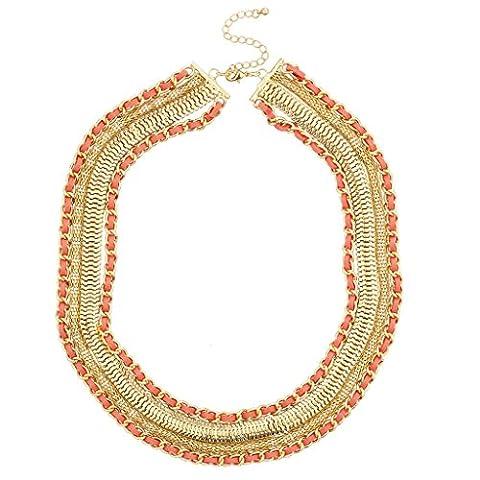 Lux Accessoires Doré et corail Assortiment de chaîne de collier