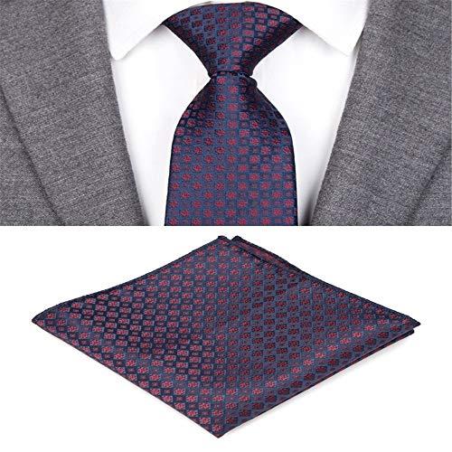 Zjuki Krawatte Krawatten für Männer Plaid gestreifte Fliege Set Jacquard gewebt Herren Krawatte Gravata Taschentuch Shirt Zubehör Hochzeit B -