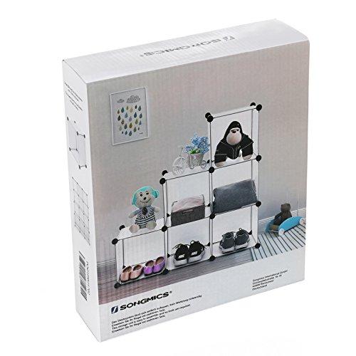 Songmics Regalsystem Raumteiler Stufenregal Standregal Badregal Regal Kleiderschrank Sideboard Schrank Aufbewahrungsbox Weiß 96 x 96 x 31,5 cm LPC111S