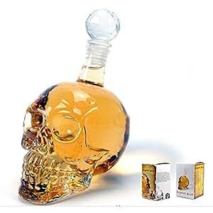 Skull Head Vodka Whiskey Shot Glass Bottle Drinking Home Bar Decanter (350ML)