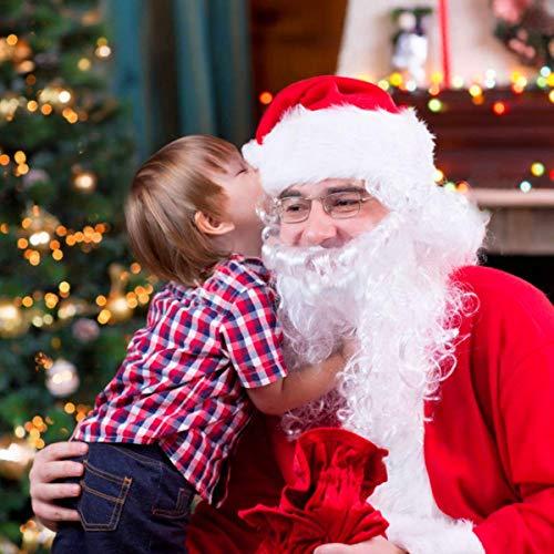 ZiQE 3er Set Mütze + Perücke + Bart für dein Premium Weihnachtsmann Kostüm| Weihnachtsmannbart Weihnachtsmannperücke Weihnachtsmannmütze Weihnachtsmann Weihnachten Nikolaus Kostüm