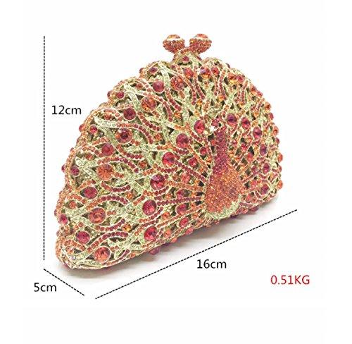 Strawberryer Peacock Hollow Hand-posted Forage De Paquet Europe Et Les États-Unis De Luxe Paquet De Dîner Banquet Décoré Handle Bag red