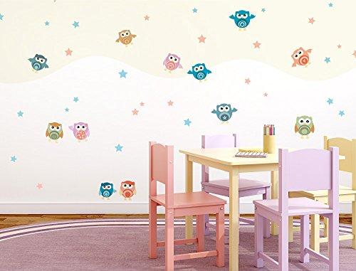 """Preisvergleich Produktbild I-love-Wandtattoo WAS-10281 Kinderzimmer Wandsticker Set """"Eulen für das Babyzimmer"""" zum Kleben Wandtattoo Wandaufkleber Sticker Wanddeko"""