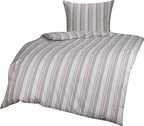 Mako Perkal/Batist Streifen Sommer Bettwäsche rot blau gestreift 135x200 + 80x80, 100% Baumwolle mit Reißverschluss -