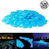 PAMIYO Pietre Luminosi 120 pcs Ciottoli Fluorescenti Blu Decorazione Pietra Luminosa per Giardino Acquario Fontana o Vialetto