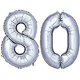 DekoRex® Folienballon Zahlenballon Heliumballon Luftballon Geburtstag Deko 100cm Zahl Silber 80