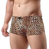GZXCPC Léopard sous-vêtements de boxe homme de taille basse respirant U-convexe shorts boxeur , yellow , M