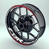 Felgenaufkleber Set Honda CBR650F für Motorrad   17 Zoll   Felgenrandaufkleber & Felgenbettaufkleber   Vorder- & Hinterreifen Komplett-Set (Doppelt - matt)