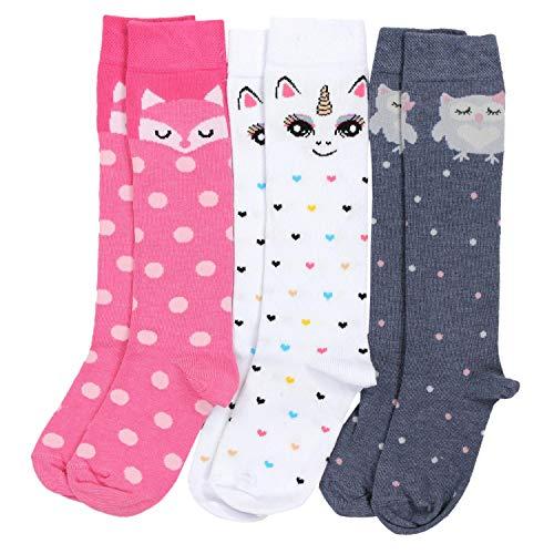 TupTam Mädchen Kniestrümpfe Knielang Socken 3er Pack, Farbe: Farbenmix 1, Größe: 27-30