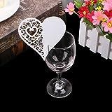 Kofun-Hochzeit Einladung Herz Tabelle Mark Weinglas Namen Tischkarte Hochzeit Party Decor Gastgeschenken (50Stück/Pack) Wein Cup Karte Herz Love–Weiß