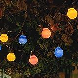 Auraglow Set von 10 Solar Schnur Girlande Laternen LED Lichterkette Retro Garten Lampen - Multi Color Cover