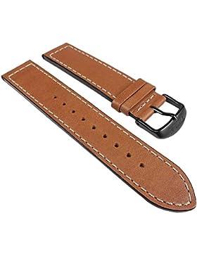 Timex Fly-Back Chrono Ersatzband Uhrenarmband Leder Band braun glatt mit Kontrastnaht 20mm für T2N700