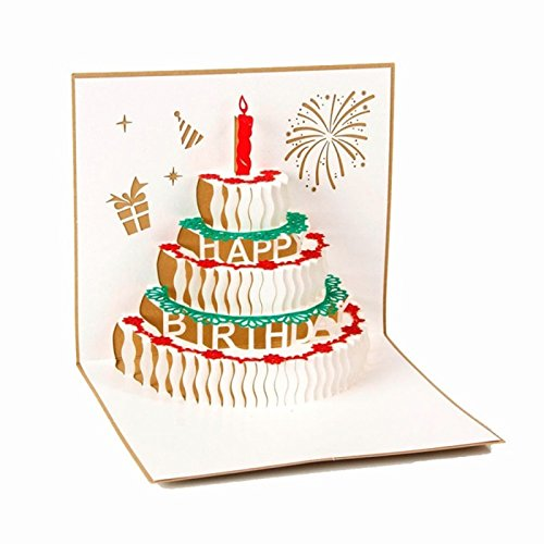 Monbedos 3d pop up biglietto d' auguri di compleanno di carta regalo con torta, idea regalo per la festa della mamma o festa di compleanno, inviti di nozze golden