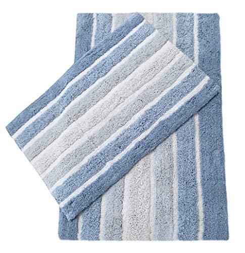 Badevorleger, rutschfest, gestreift, Blau, 2 Stück - 10 X 14 Bereich Teppich