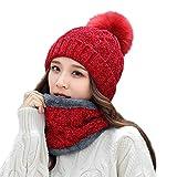 Amphia - 2 Stücke Frauen Winter Warm Gestrickte Venonat Beanie Mütze + Schal Warmhalten Set,Plus SAMT warme Haare Ball Mütze Lätzchen zweiteilig(Red)