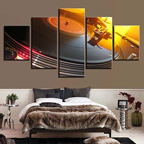 Xzfddn Toile Photos Modulaire Salon Décor Cadre 5 Pièces Musique Dj Console Platines Vinyles Peinture Bar Discothèque Mur Art Affiche-40X60/80/100Cm,With Frame