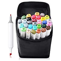 TOUCHNEW 30 Color Marker Pen Set Dual Tips Art Sketch Twin Marker Pens Highlighters with Carrying Case for Painting Coloring Highlighting and Underlining(Comic Selection) (30 Set, White)-Lightwish
