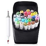 TOUCHENEW 30 Color Marker Pen Set Dual Tips Kunst Sketch Twin Marker Pens Highlighters mit Tragetasche für Malerei Coloring Hervorhebung und Unterstreichung (Comic Selection) (30 Set, Weiß)