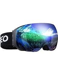 Enkeeo - Gafas de Esquí, de Snowboard (Lente de dual capa Anti-Niebla, 100% UV400 protección, marco doblable, correa antideslizante, 3 capas de espuma resistente al viento) Verde