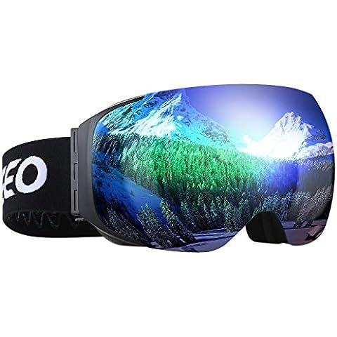 Enkeeo - Gafas de Esquí, de Snowboard (Lente de dual capa Anti-Niebla, 100% UV400 protección, marco doblable, correa antideslizante, 3 capas de espuma resistente al viento)