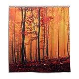 CPYang Duschvorhänge Herbstwald Baum Ahorn Wasserdicht Schimmelresistent Badevorhang Badezimmer Home Decor 168 x 182 cm mit 12 Haken