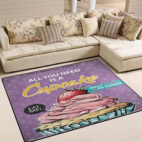 ALINLO - Alfombra Antideslizante para Interior y Exterior, diseño de Cupcakes y Fresas, poliéster...