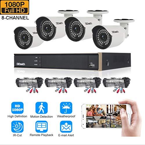 didseth CCTV Cámara Sistema H.264 con 8 CH 1080 N 5 en 1 DVR de vigilancia Sistema de seguridad y 4 x 1080P HD Bullet cámaras, IR Visión Nocturna, Detección de Movimiento, alarma de correo electrónico