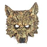 FUREIN Mascara de Lobo Careta Cosplay Fiesta Halloween Carnaval (Dorado)