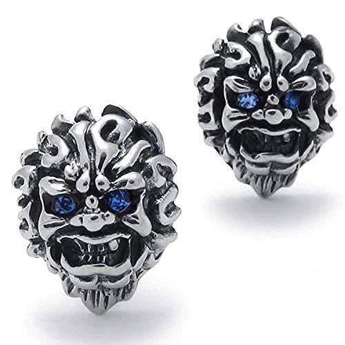 MENDINO Mens Stainless Steel Skull Stud Earrings Savage Mosaic Zircon Blue Eyes Silver Colour 2Pcs with 1X Velvet Bag