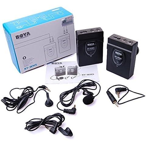 Boya BY-WM52,4gHz inalámbrico Lavalier micrófono Audio Grabadora para Canon/Nikon/Sony DSLR Cámara–Negro