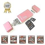 honktai SD TF Kartenleser Lightning Micro USB Connector, externe Speicher Erweiterung für iPhone/iPad/Android Smartphones/Mac/PC–Rose Gold