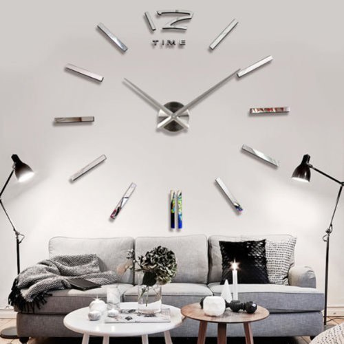 Orologio da parete 3d, stile moderno, per decorare il salone, a specchio