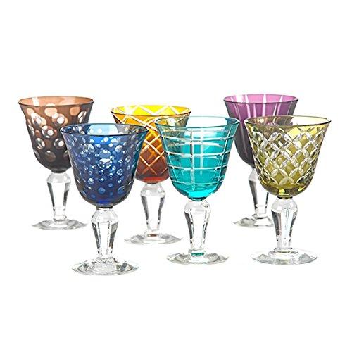Weingläser farbig Cuttings 6er Set - pols potten, geschliffenes Glas, verschiedene Motive, Designer...