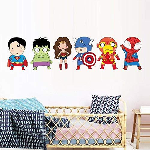 YXWYL Vinilos Decorativos de Vinilo para niños habitación Dibujos Animados Superheros Wallpaper