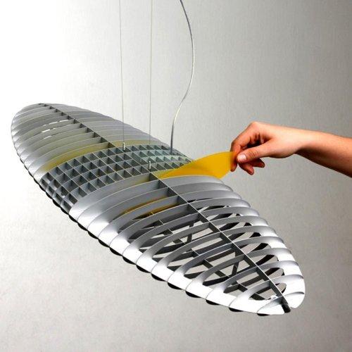 LucePlan Titania Pendelleuchte, aluminium matt Farbfilter inklusive