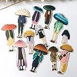 HENJIA Adesivi Vintage con Testa di Fungo Adesivi per Album di Album di acquerelli Dipinti a Mano