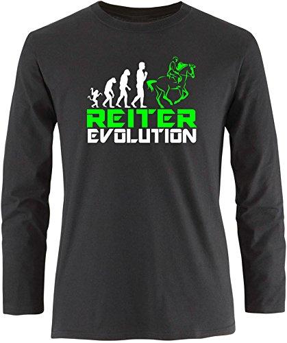 EZYshirt® Reiter Evolution Herren Longsleeve Schwarz/Weiß/Neongr