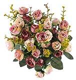 21cabezas artificial ramo de flores secas arreglo floral Artificial de rosa de seda boda...