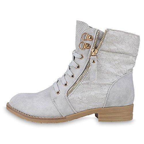 Stylische Damen Stiefeletten | Worker Boots Spitze | Knöchelhohe Stiefel Gesteppt | Damenschuhe Leder-Optik | Zipper Ketten Blockabsatz Hellgrau