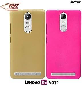For Lenovo Vibe K5 Note, Lenovo K5 Note[COMBO OFFER]: Unistuff™ Matte Finish Hard Case Back Cover for Lenovo Vibe K5 Note, Lenovo K5 Note [SLIM FIT][FREE SHIPPING] (Golden, Pink)