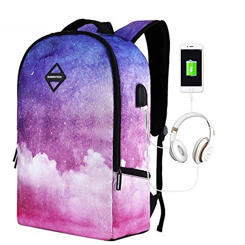 Galaxy gedruckten Rucksack mit USB-Ladeanschluss & Kopfhörer-Schnittstelle für Studenten Leichtgewicht Reiserucksack für Frauen Männer (Jansport Galaxy-rucksack)