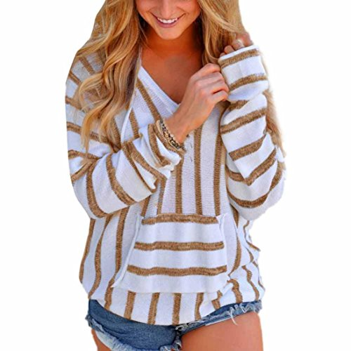 Pullover damen Strickpullover Langarm Sonnena Gestreifte Strickwaren Pullis mit V-Ausschnitt Bluse Tops (Asian L, Khaki)